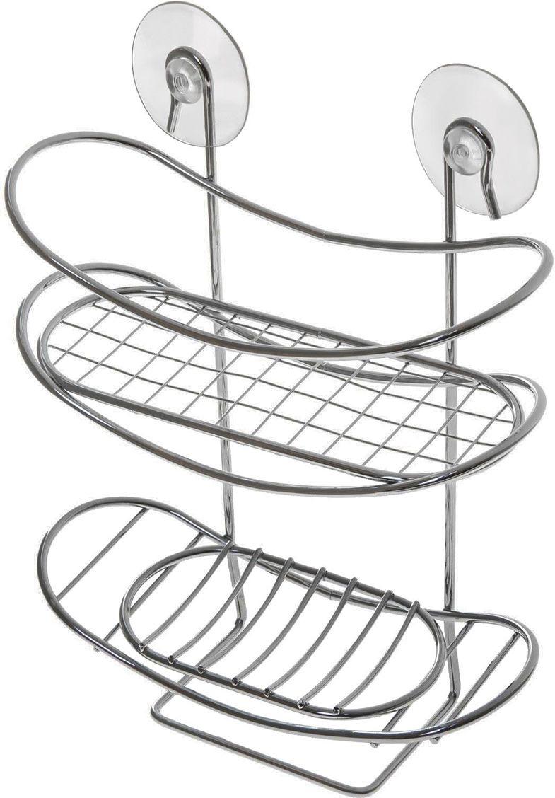 Полка для ванной комнаты Доляна, двухярусная, 890902, серый металлик, 19 х 8,5 х 26 см