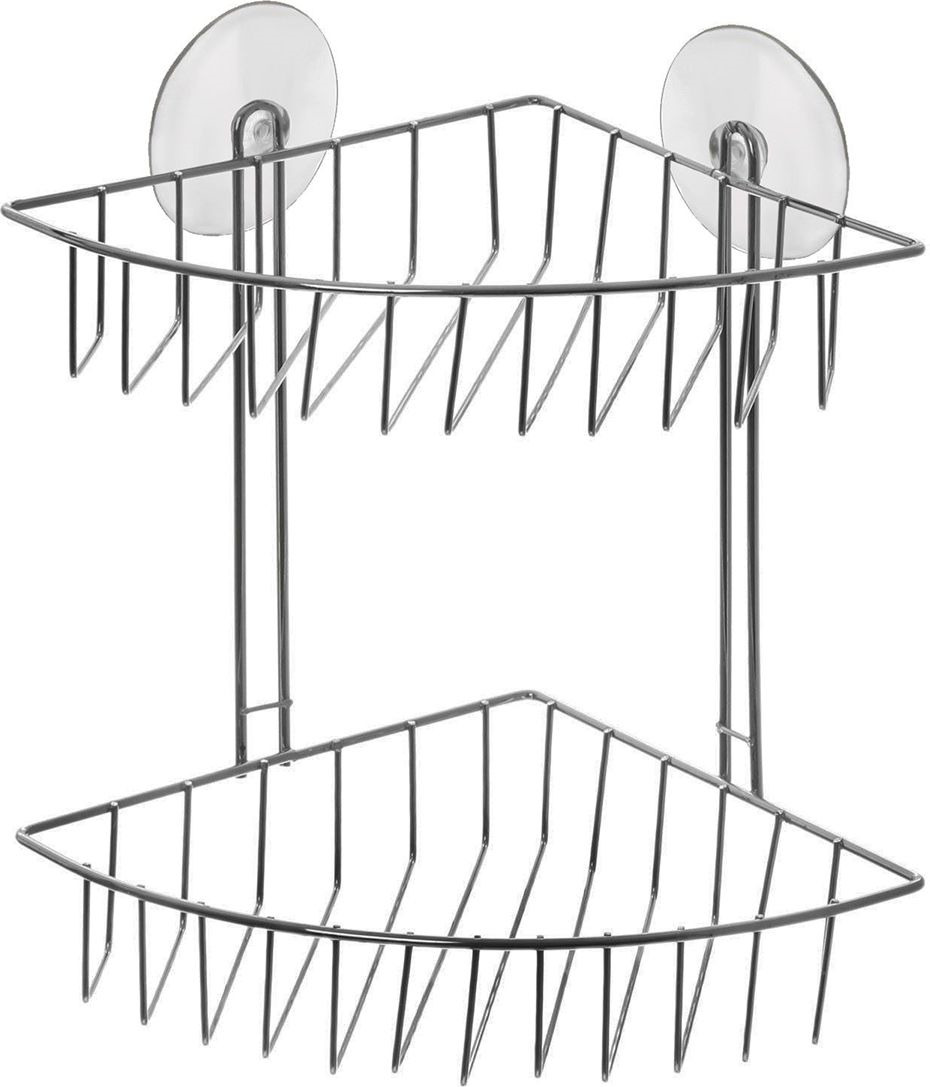 Полка для ванной комнаты Доляна, двухярусная, 890907, серый металлик, 19 х 19 х 25 см