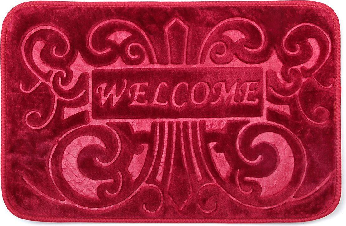 Коврик для ванной Доляна Welcome, 3542536, бордовый, 40 х 60 см
