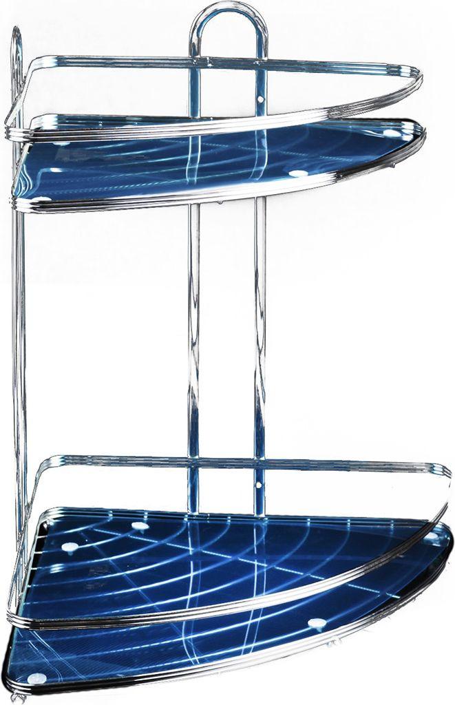 Полка для ванной комнаты Доляна, двухярусная, 2998321, серый металлик, 25,5 х 25,5 х 33,5 см