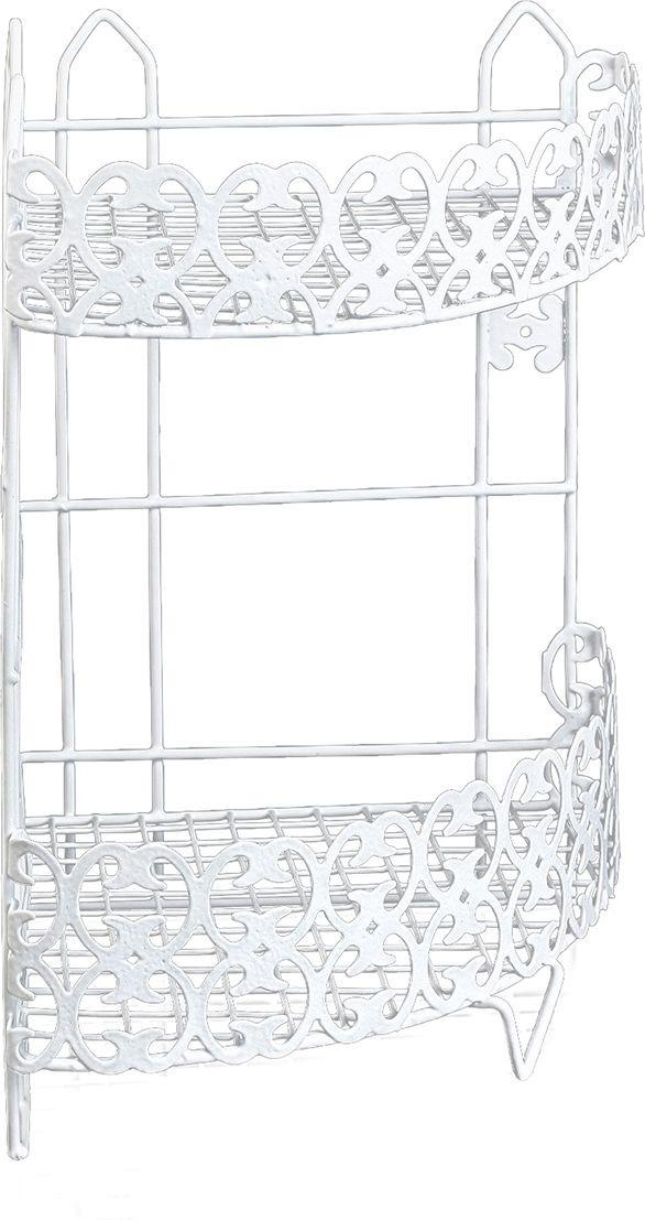Полка для ванной комнаты Доляна Винтаж, двухярусная, 2998444, белый, 35 х 24 х 24 см полка для ванной комнаты hiba