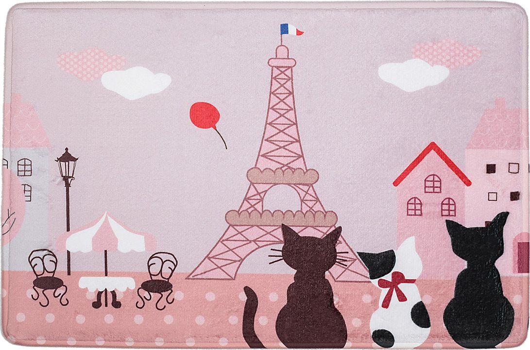 """Коврик для ванной Доляна """"Кошки в Париже"""", 3542581, разноцветный, 40 х 60 см"""