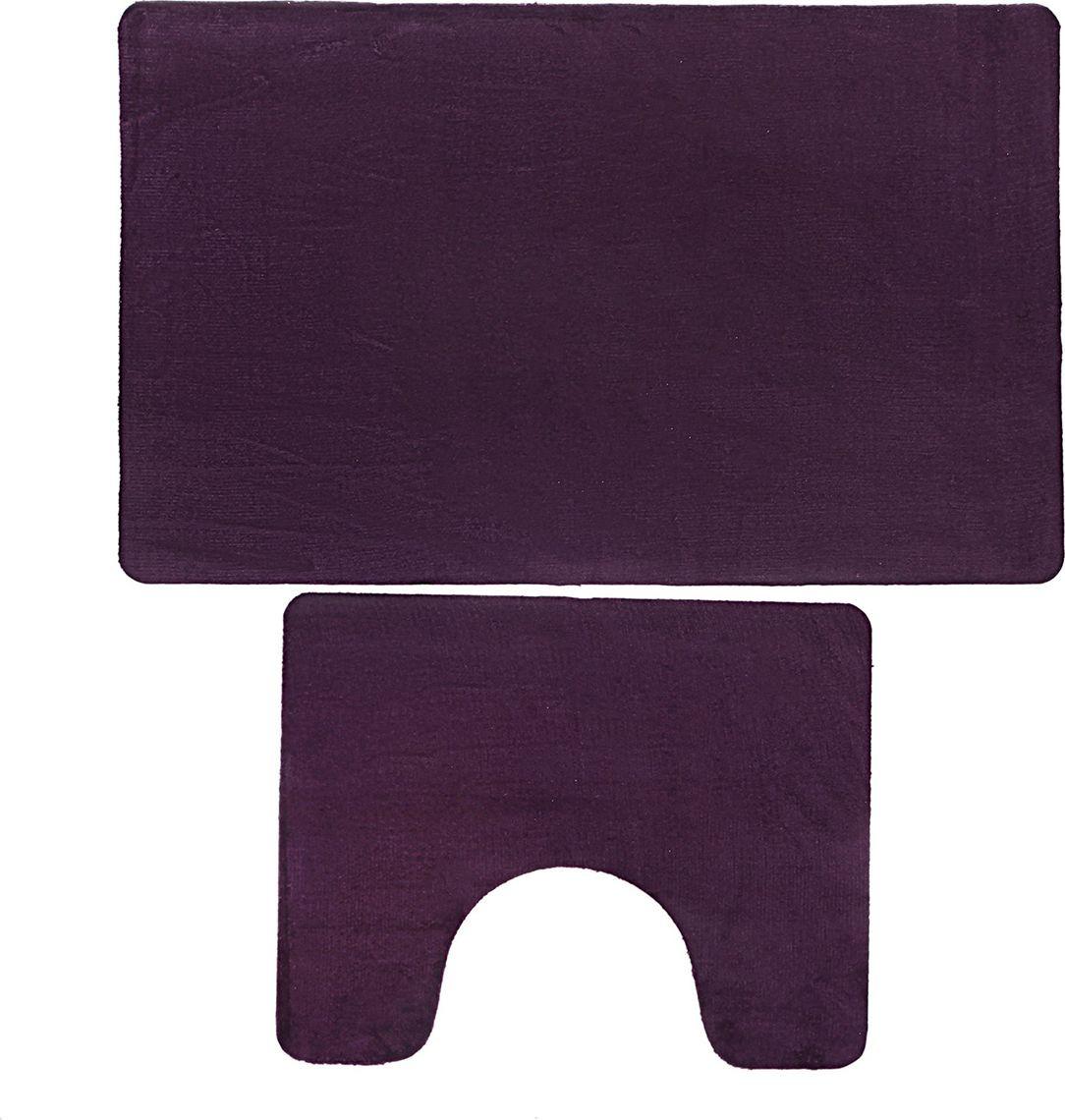 """Набор ковриков для ванной Доляна """"Тень"""", 3545716, фиолетовый, 2 шт"""