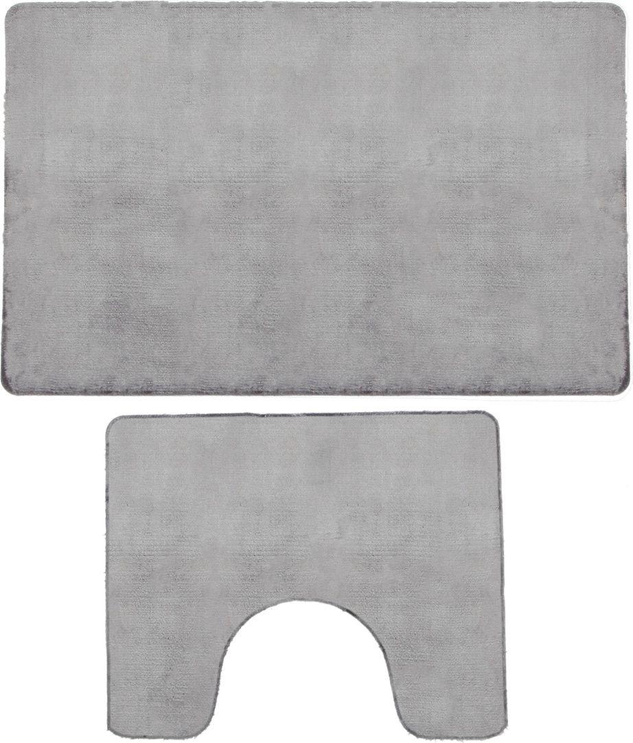 """Набор ковриков для ванной Доляна """"Тень"""", 3545718, серый, 2 шт"""