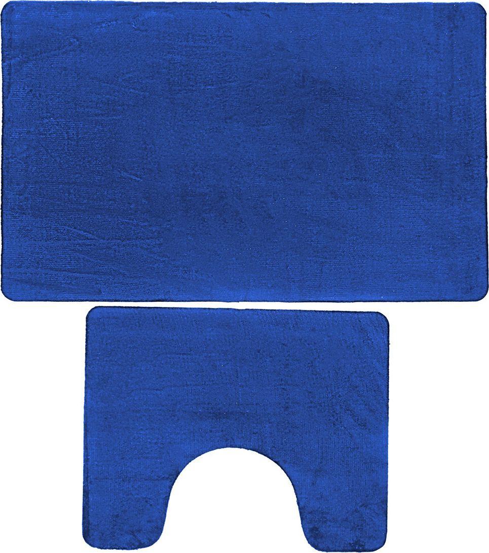 "Набор ковриков для ванной Доляна ""Тень"", 3545720, синий, 2 шт"