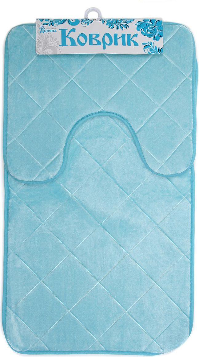 """Набор ковриков для ванной Доляна """"Ромбы"""", 3567162, голубой, 2 шт"""