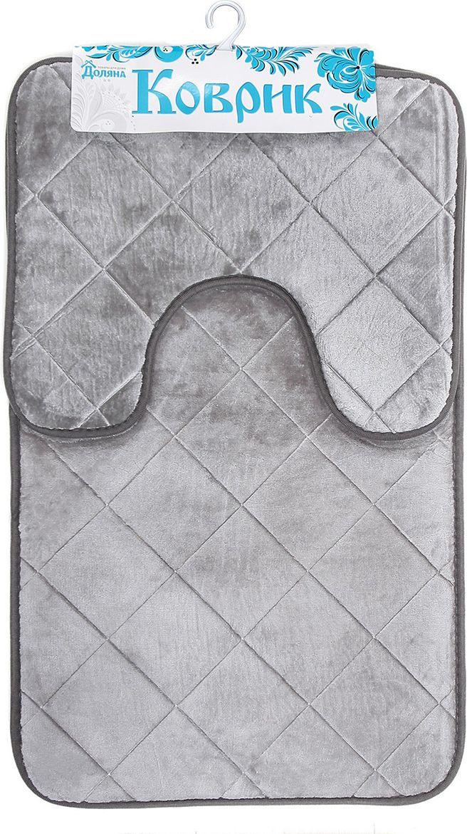 """Набор ковриков для ванной Доляна """"Ромбы"""", 3567163, серый, 2 шт"""