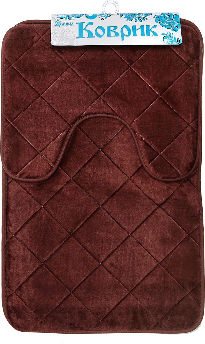 """Набор ковриков для ванной Доляна """"Ромбы"""", 3567165, коричневый, 2 шт"""
