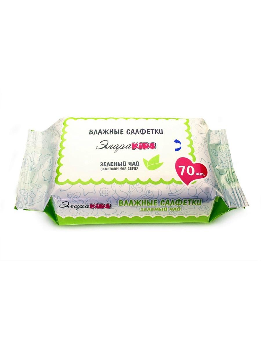 Влажные салфетки ЭлараKids Зеленый чай, 70 шт салфетки детские влажные ponky с крышкой 8690239034604 70 шт