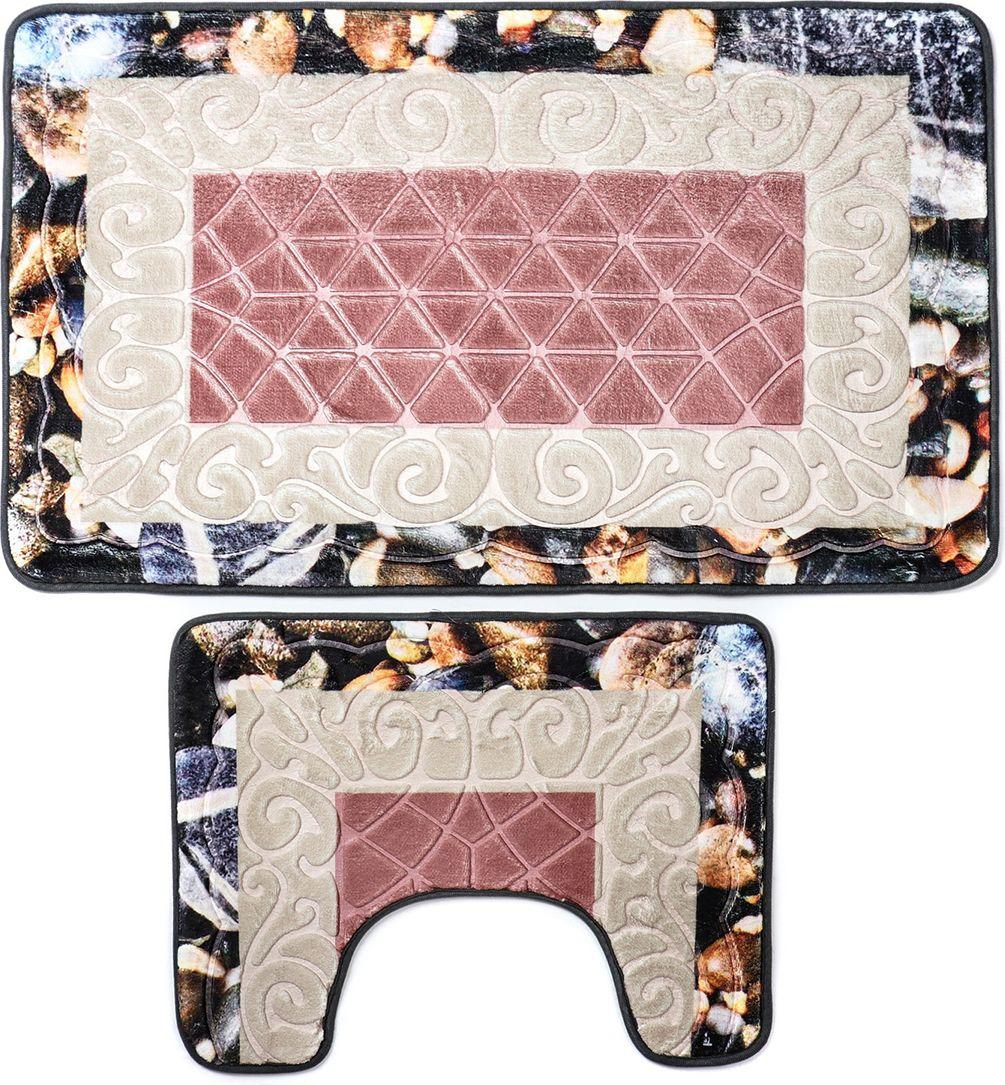 """Набор ковриков для ванной Доляна """"Галька ракушки"""", 3734875, розовый, 2 шт"""