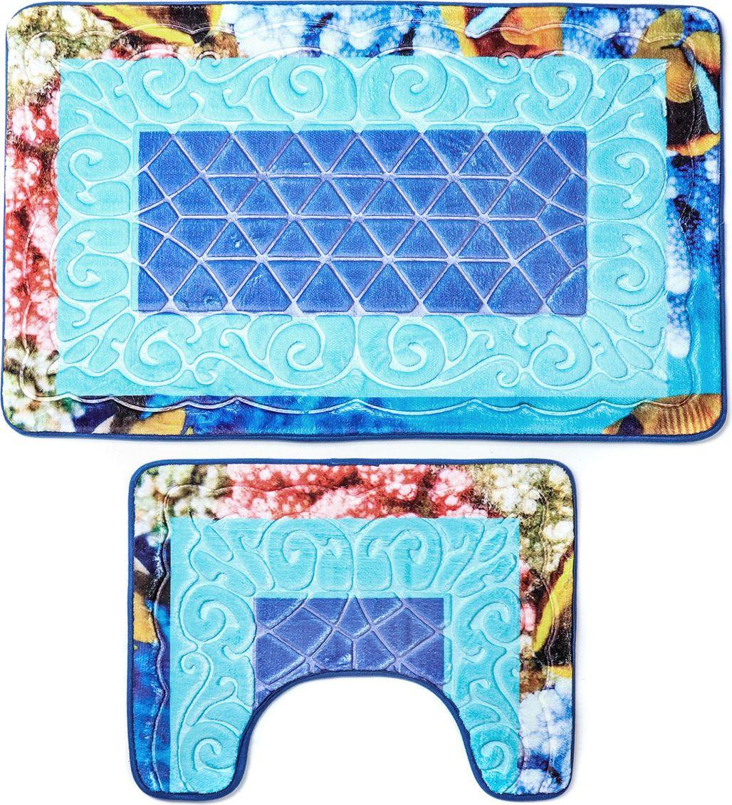 """Набор ковриков для ванной Доляна """"Узор"""", 3734877, синий, 2 шт"""