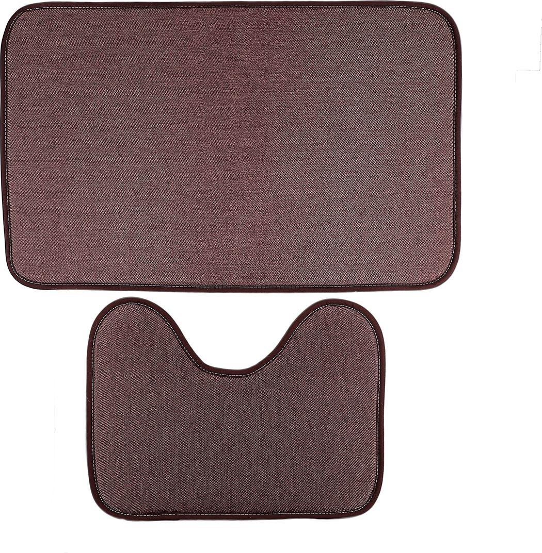 """Набор ковриков для ванной Доляна """"Лен"""", 3782266, коричневый, 2 шт"""
