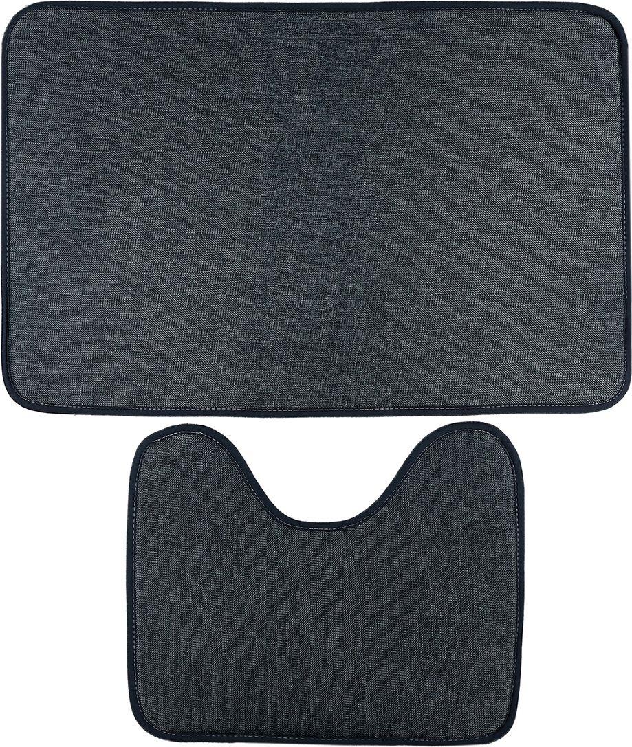 """Набор ковриков для ванной Доляна """"Лен"""", 3782268, серый, 2 шт"""
