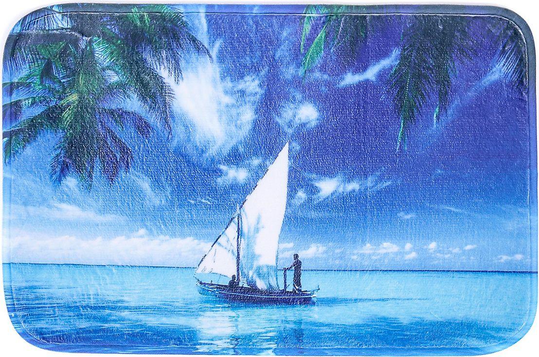 """Коврик для ванной Доляна """"Парусник"""", 3782408, синий, 60 х 40 см"""