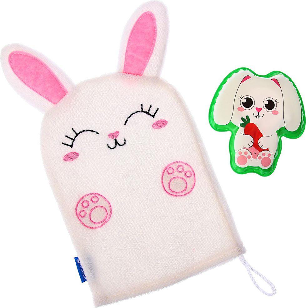 Набор для купания Крошка Я Зайка Мочалка + Игрушка, 3784960, розовый книга для купания что любит 1900вв m6227