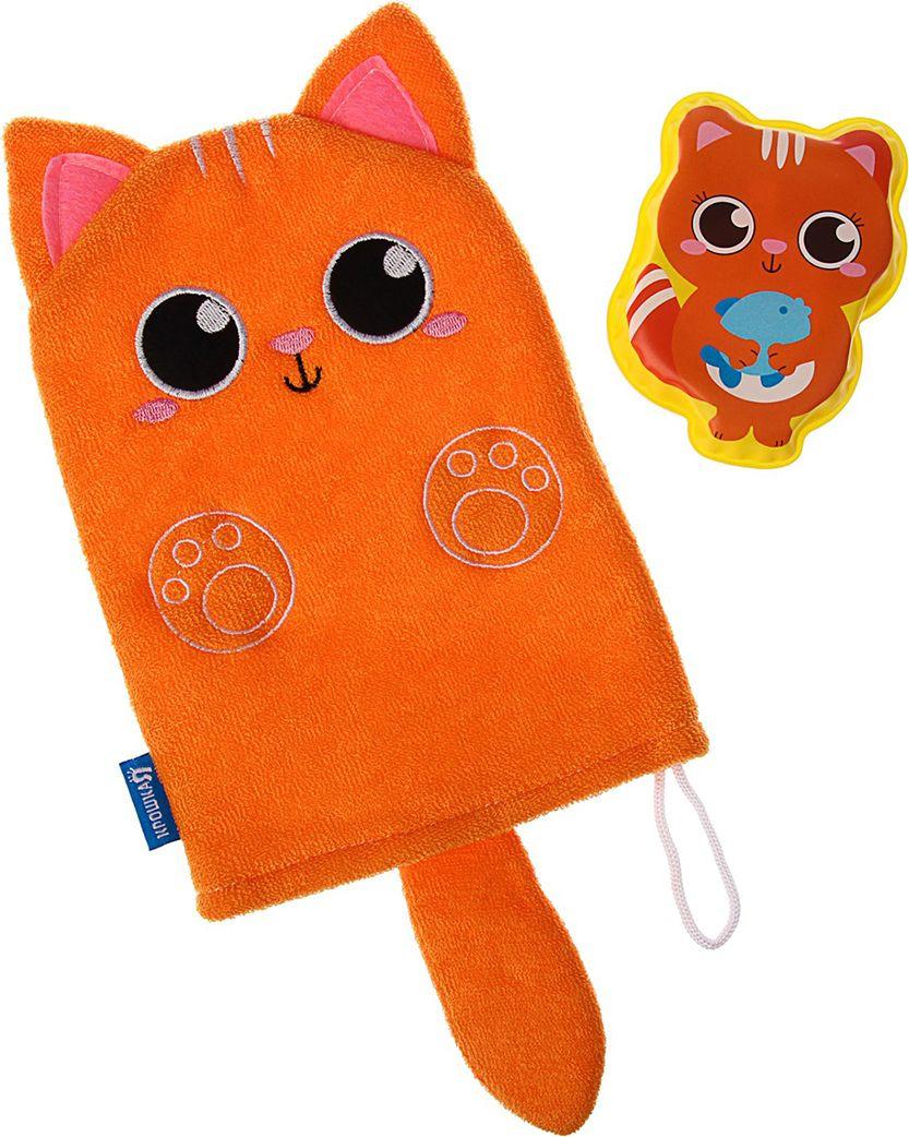 Набор для купания Крошка Я Котик Мочалка + Игрушка, 3784962, оранжевый книга для купания что любит 1900вв m6227