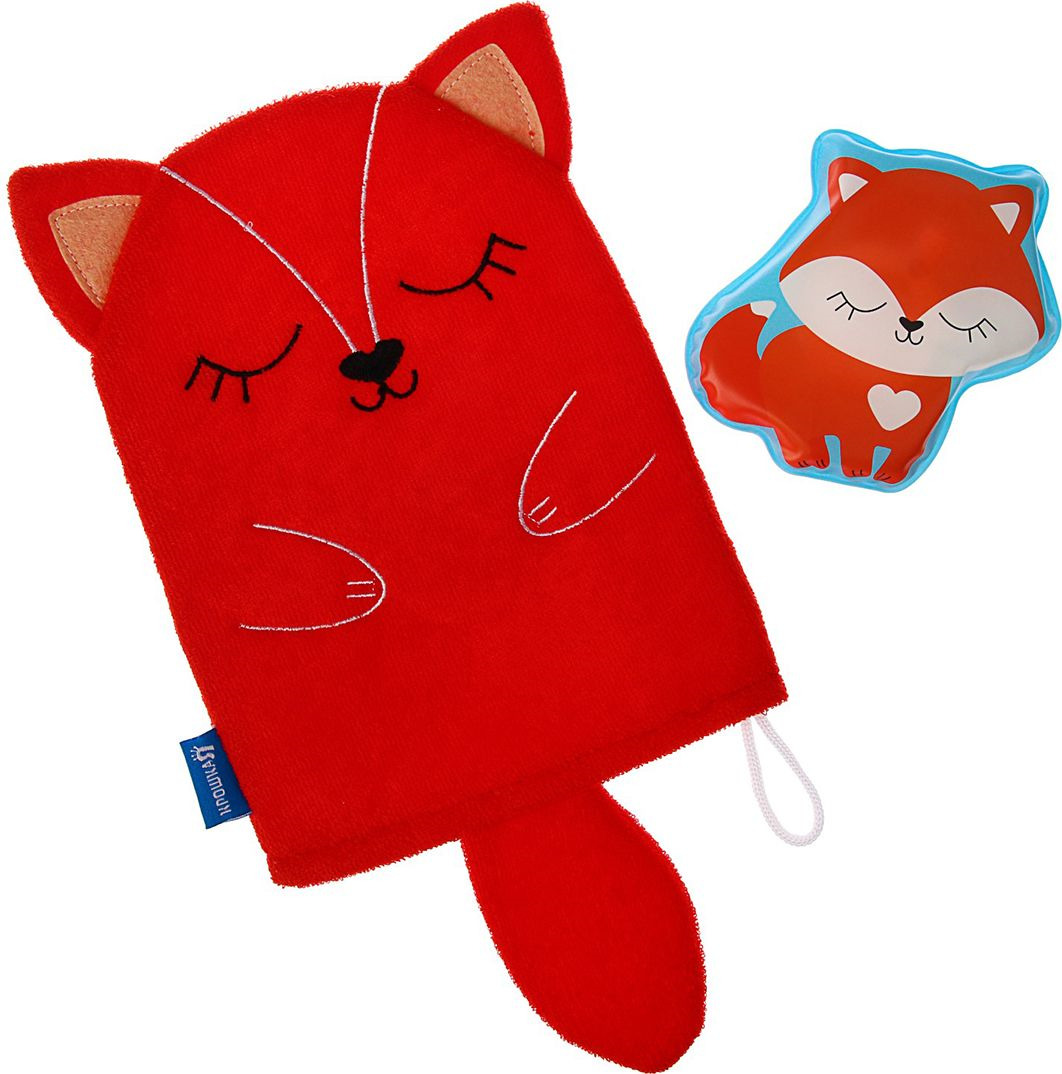 Набор для купания Крошка Я Лисичка Мочалка + Игрушка, 3784963, красный книга для купания что любит 1900вв m6227