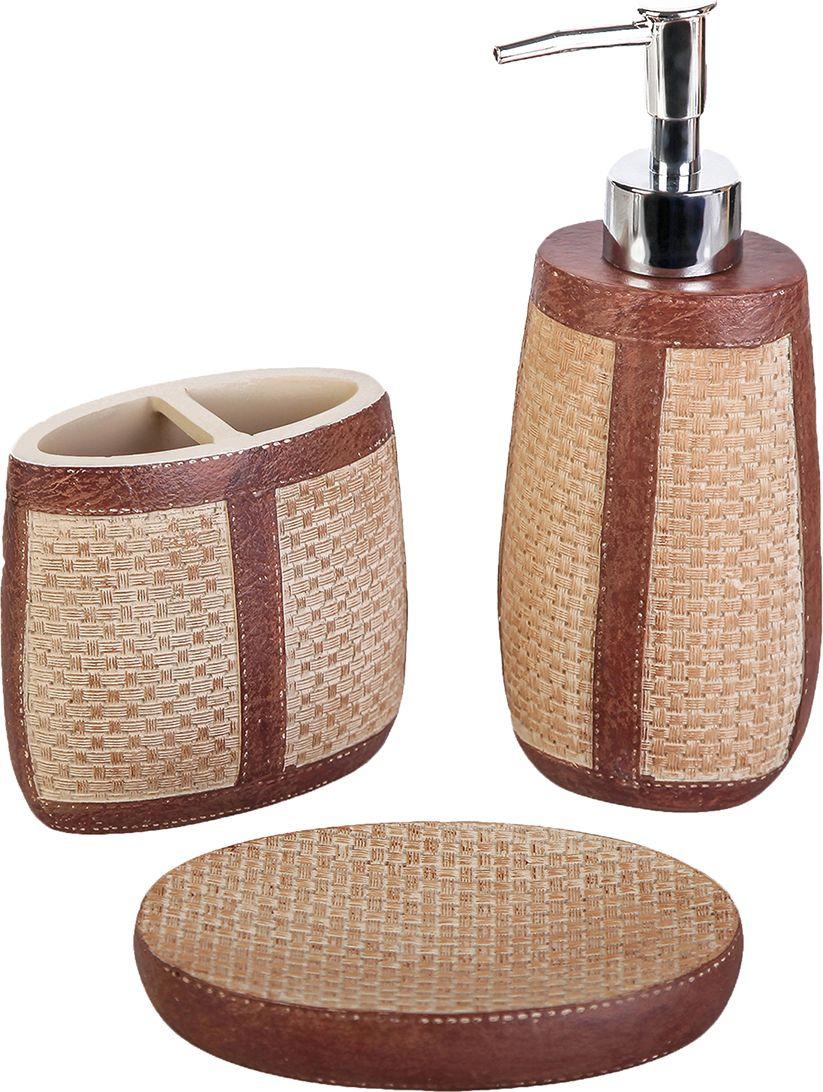 Набор для ванной комнаты Кирпичная кладка, 3823786, коричневый, 3 предмета картрайт п кирпичная кладка уроки мастера