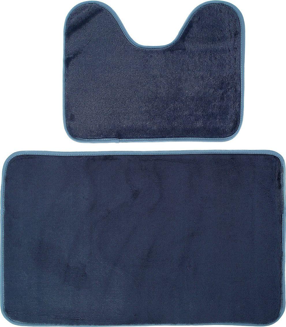Набор ковриков для ванной Доляна, 3825810, серый, 2 шт