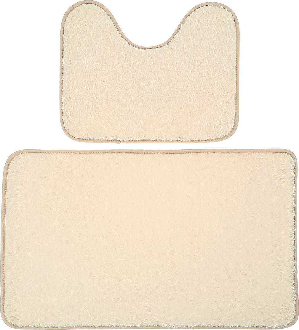 Набор ковриков для ванной Доляна, 3825811, бежевый, 2 шт