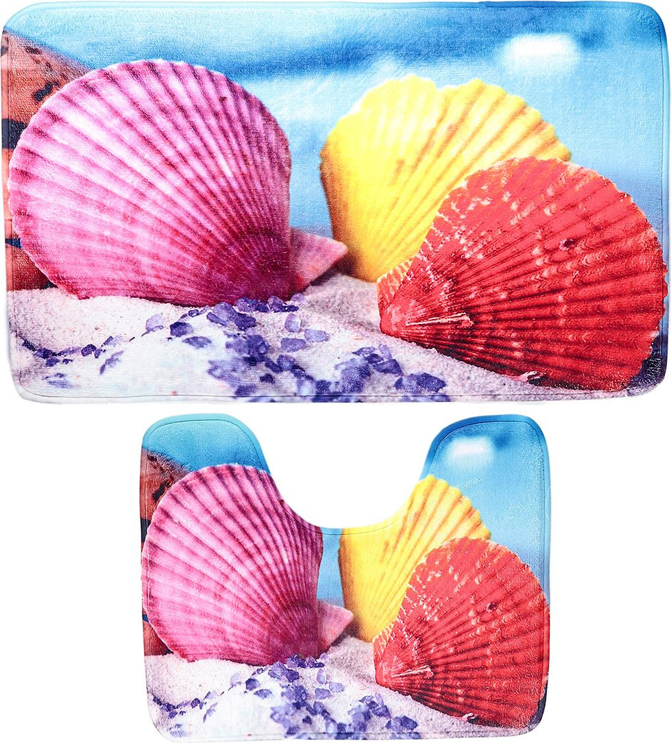 """Набор ковриков для ванной Доляна """"Ракушки"""", 3904474, синий, разноцветный, 2 шт"""