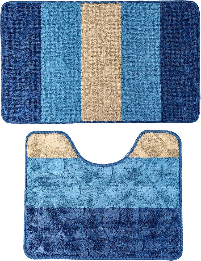 """Набор ковриков для ванной Доляна """"Полосатый, галька"""", 3904476, синий, 2 шт"""