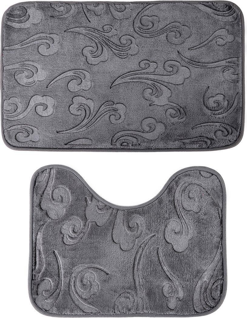 """Набор ковриков для ванной Доляна """"Грация"""", 3904490, серый, 2 шт"""