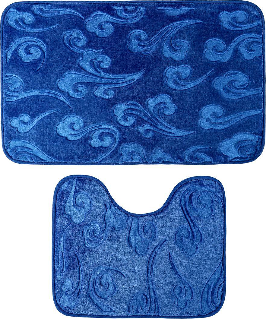 """Набор ковриков для ванной Доляна """"Грация"""", 3904491, синий, 2 шт"""