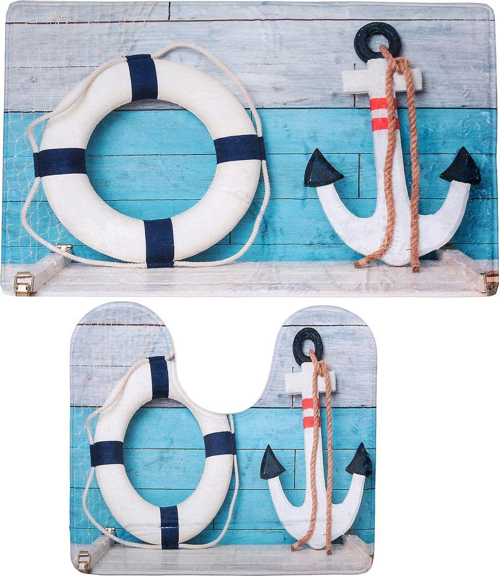 """Набор ковриков для ванной Доляна """"Морской"""", 3904504, голубой, 2 шт"""