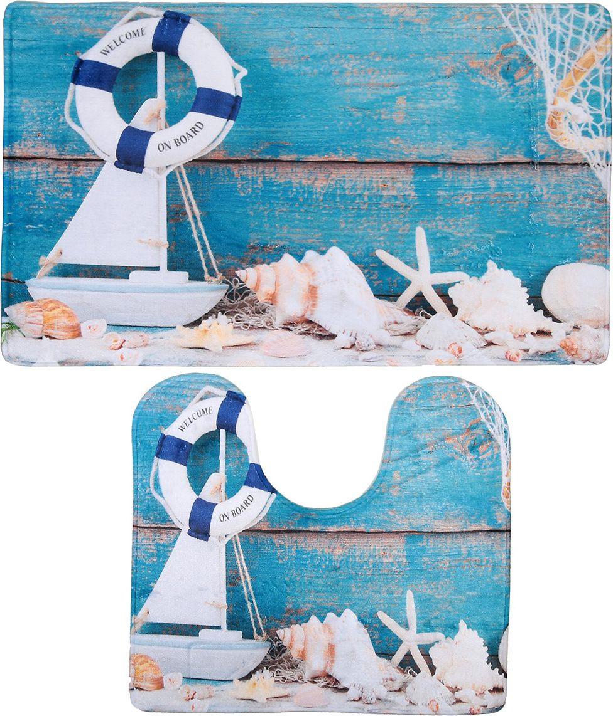 """Набор ковриков для ванной Доляна """"Морской антураж"""", 3904505, голубой, 2 шт"""