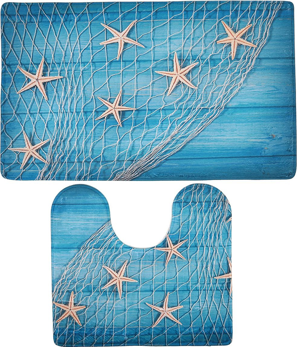 """Набор ковриков для ванной Доляна """"Морские звезды"""", 3904509, синий, 2 шт"""
