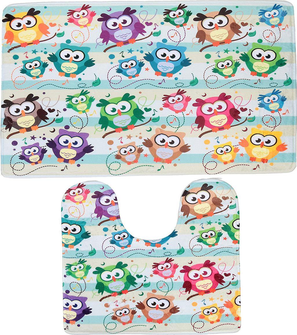 """Набор ковриков для ванной Доляна """"Совушки"""", 3904515, разноцветный, 2 шт"""