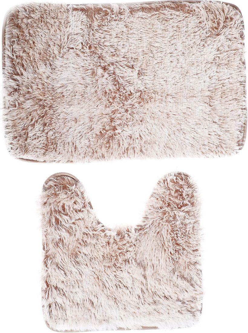 """Набор ковриков для ванной """"Пушистик"""", 3924897, коричневый, 2 шт"""