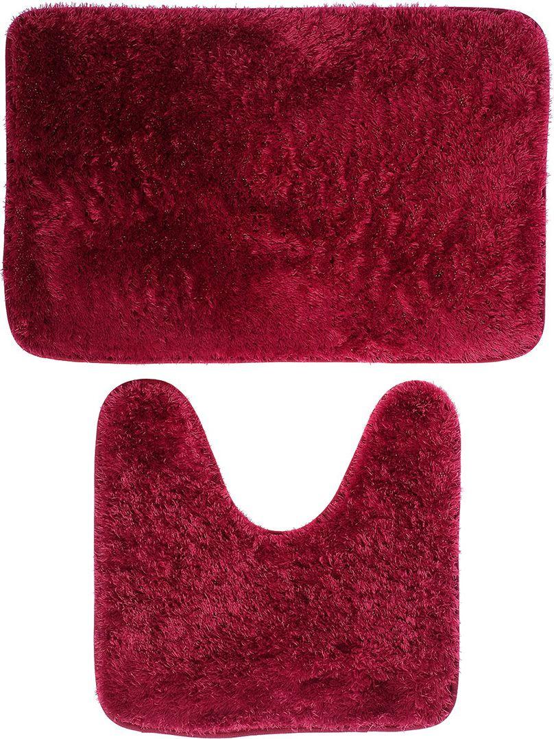 """Набор ковриков для ванной Доляна """"Пушистик"""", 3924903, бордовый, 2 шт"""