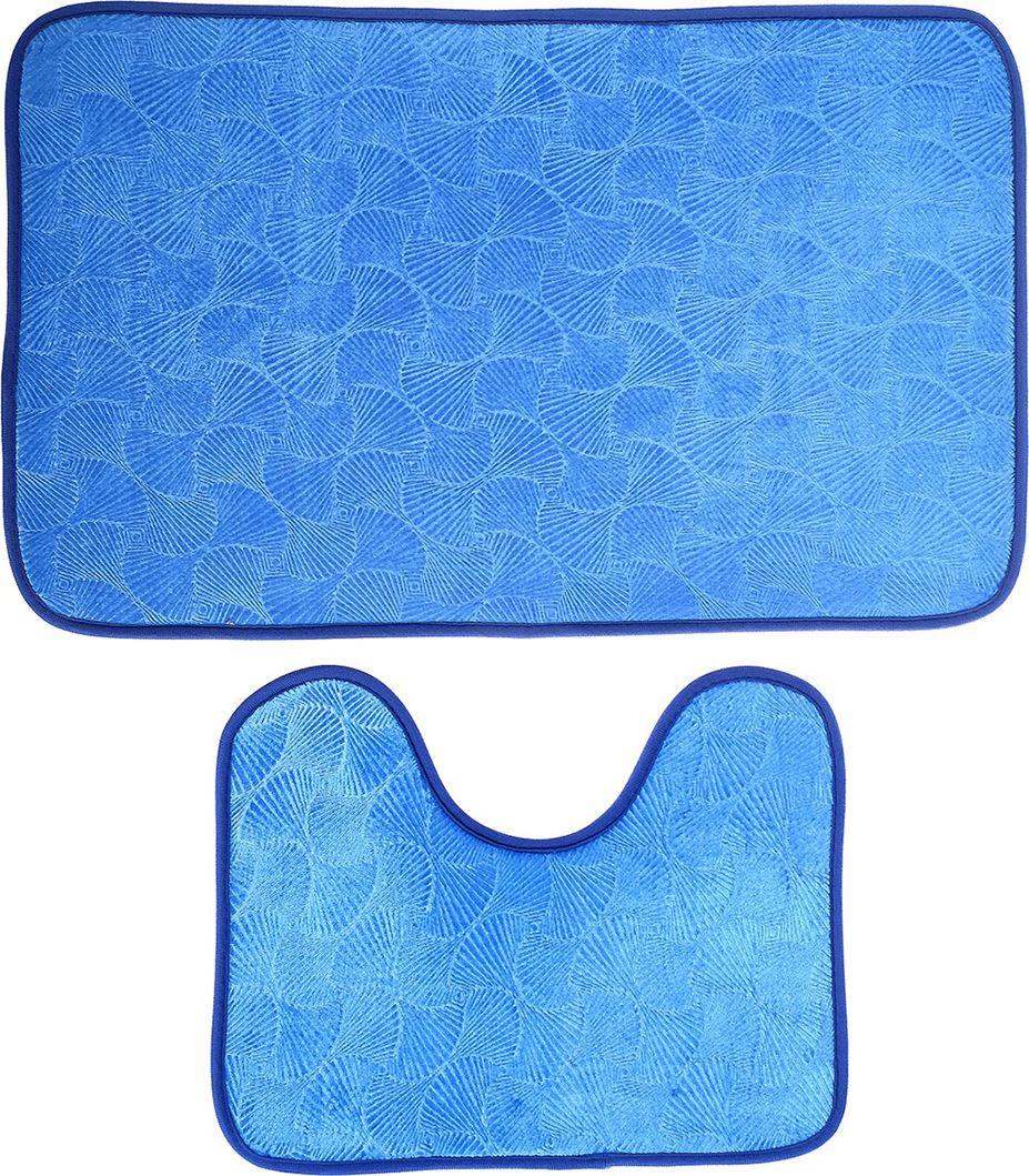 "Набор ковриков для ванной ""Ракушки"", 3924909, синий, 2 шт"