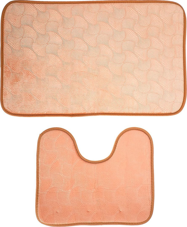 """Набор ковриков для ванной """"Ракушки"""", 3924911, коричневый, белый, 2 шт"""