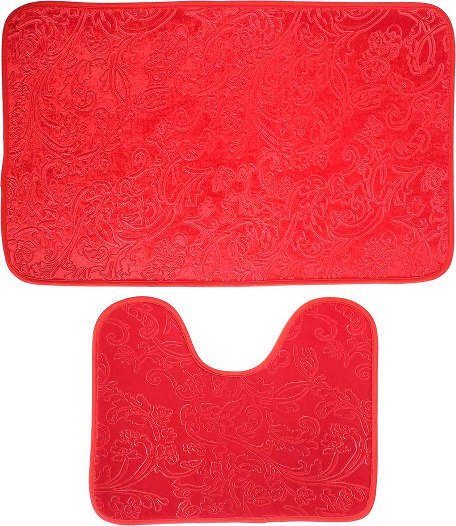 """Набор ковриков для ванной """"Афина"""", 3924916, бордовый, 2 шт"""