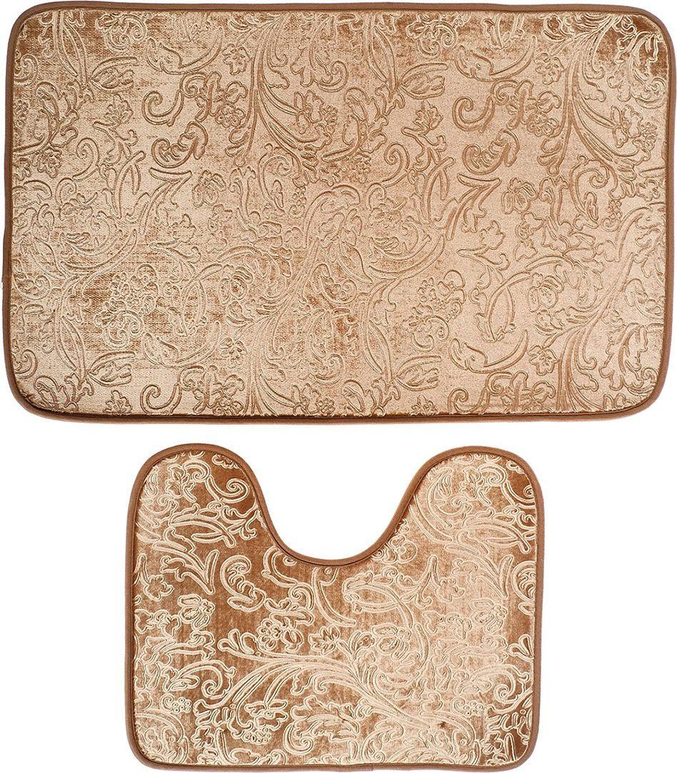 """Набор ковриков для ванной """"Афина"""", 3924917, коричневый, 2 шт"""