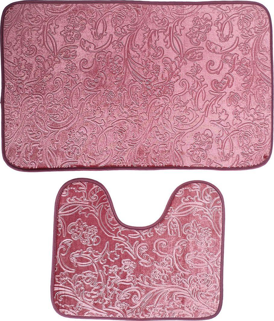 """Набор ковриков для ванной """"Афина"""", 3924918, розовый, 2 шт"""
