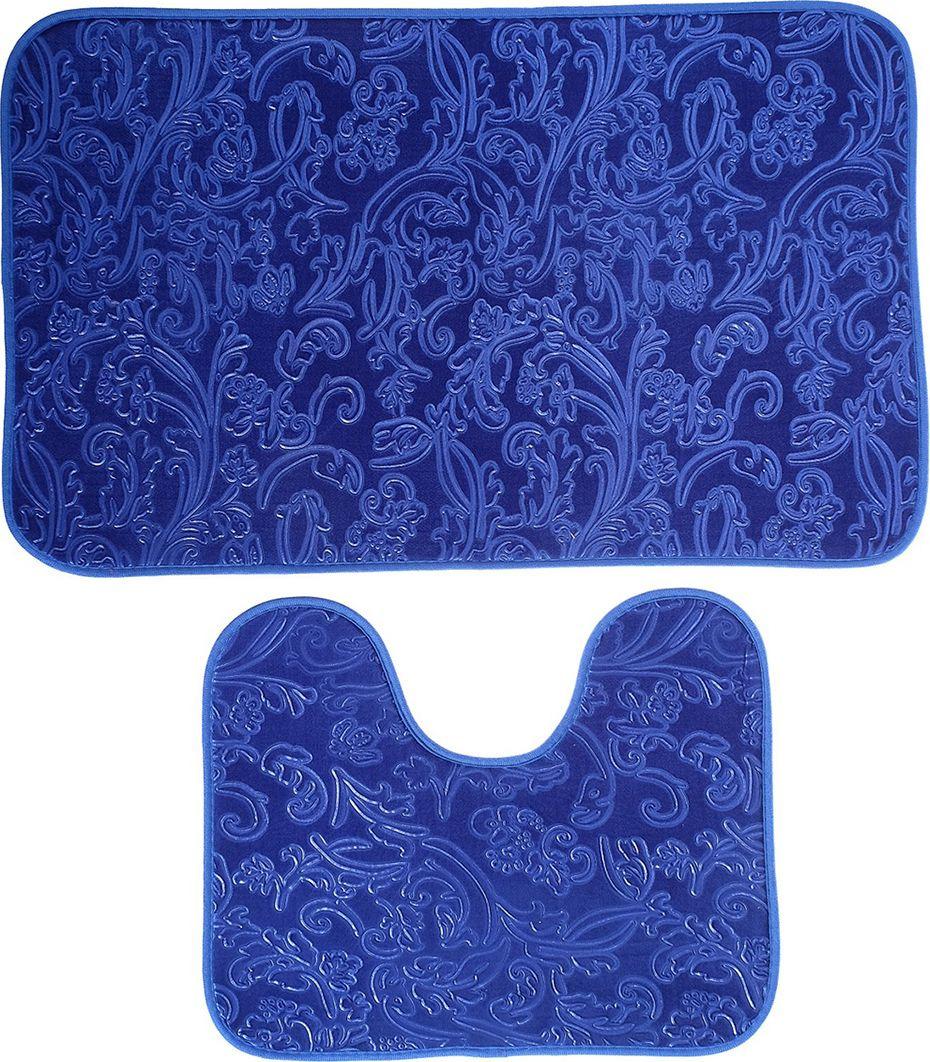 """Набор ковриков для ванной """"Афина"""", 3924919, синий, 2 шт"""