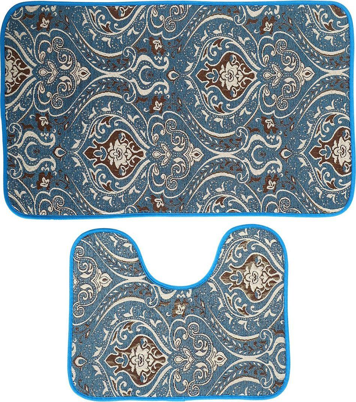 """Набор ковриков для ванной """"Восток"""", 3924924, бирюзовый, 2 шт"""