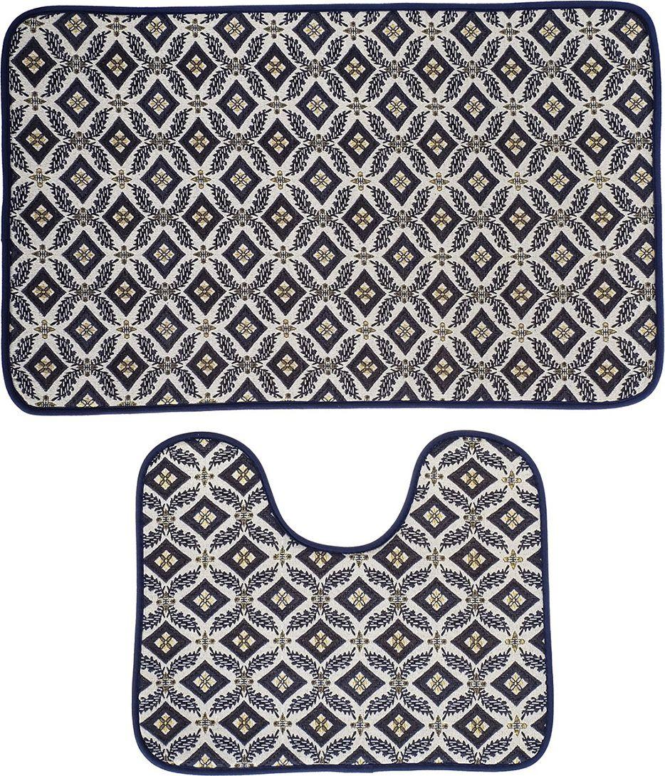 """Набор ковриков для ванной """"Ночь"""", 3924925, серый, белый, 2 шт"""