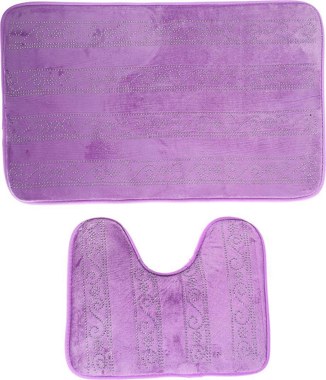 """Набор ковриков для ванной """"Сияющий"""", 3924926, фиолетовый, 2 шт"""