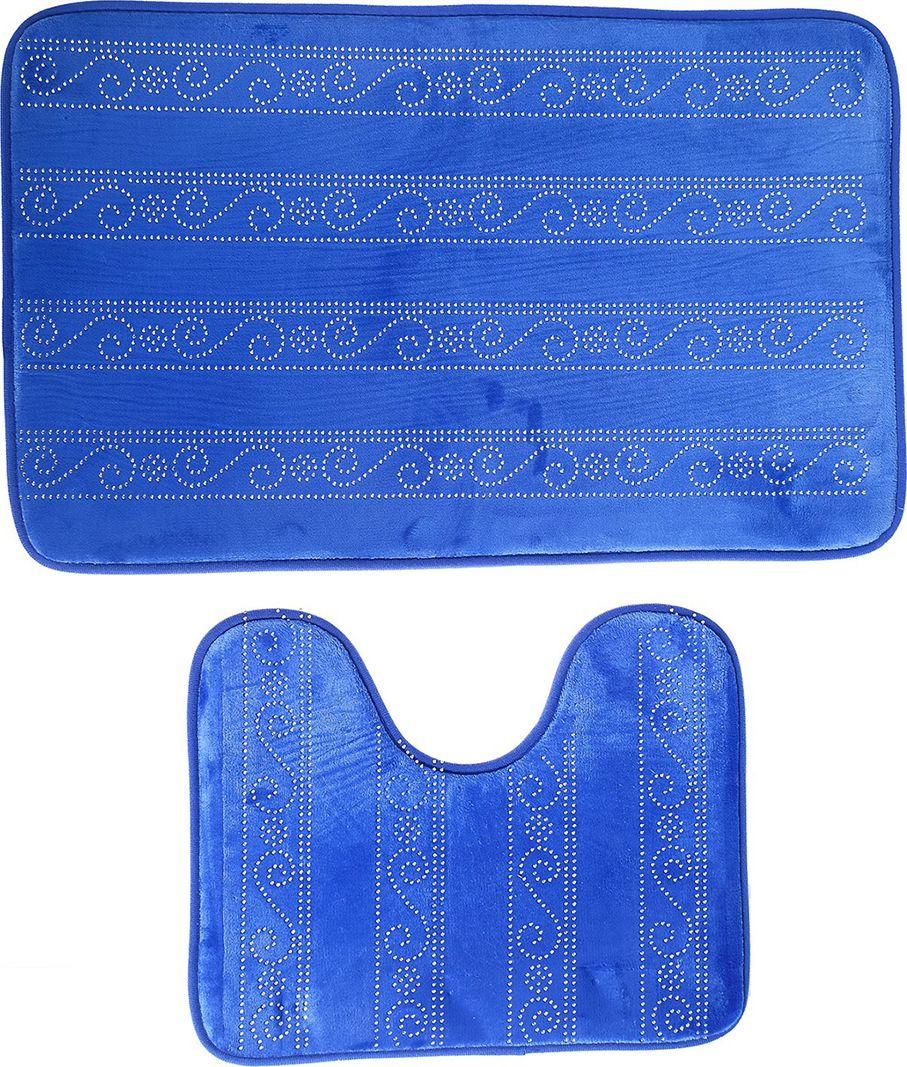 "Набор ковриков для ванной ""Сияющий"", 3924927, синий, 2 шт"