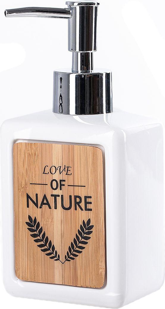 """Дозатор для жидкого мыла Доляна """"Природа"""", 4004517, белый"""