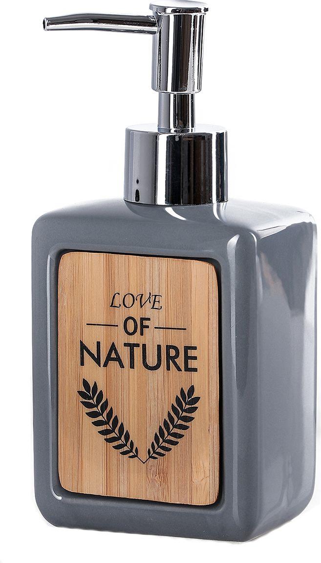 """Дозатор для жидкого мыла Доляна """"Природа"""", 4004518, серый"""