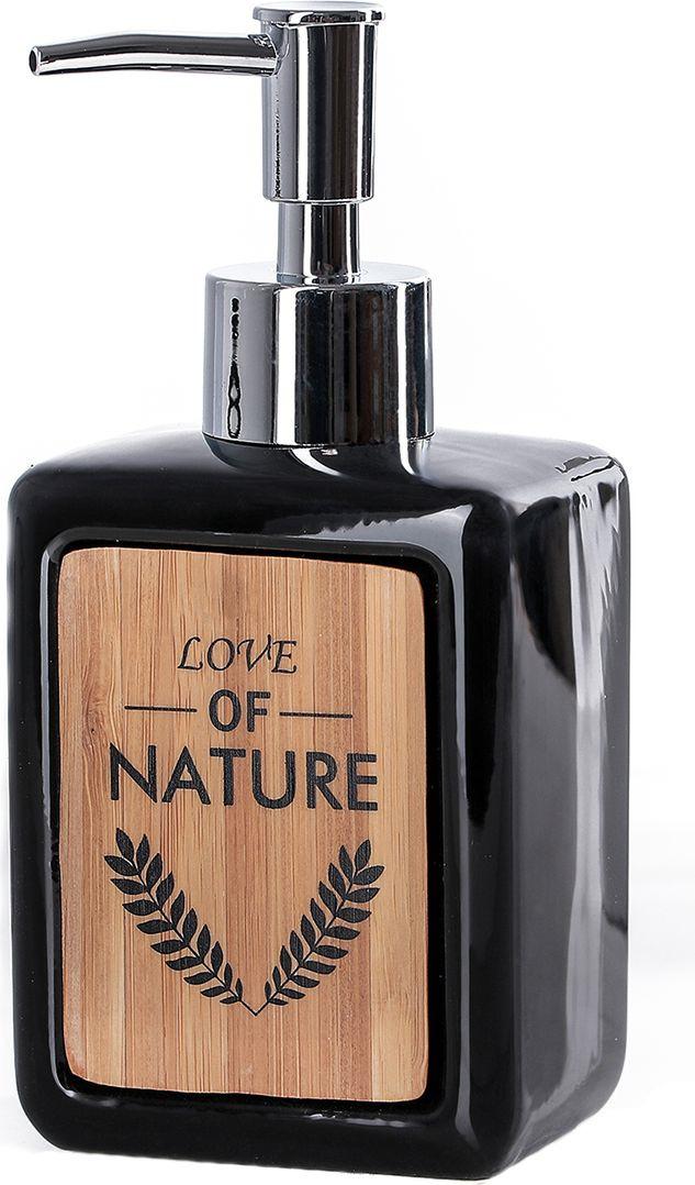 """Дозатор для жидкого мыла Доляна """"Природа"""", 4004519, черный"""