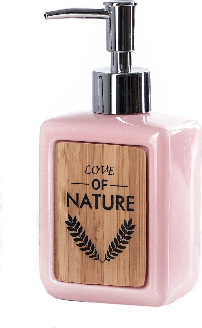 """Дозатор для жидкого мыла Доляна """"Природа"""", 4004520, розовый"""