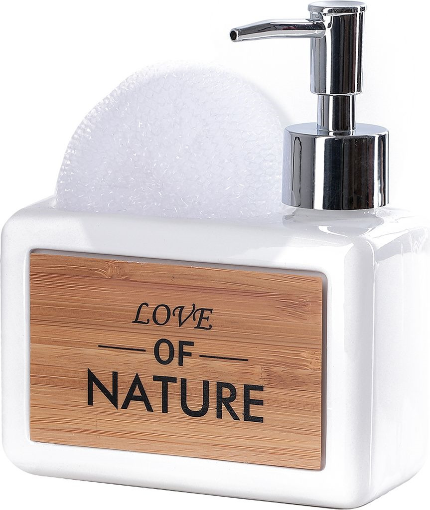 """Дозатор для жидкого мыла Доляна """"Природа"""", с подставкой для губки, 4004521, белый"""
