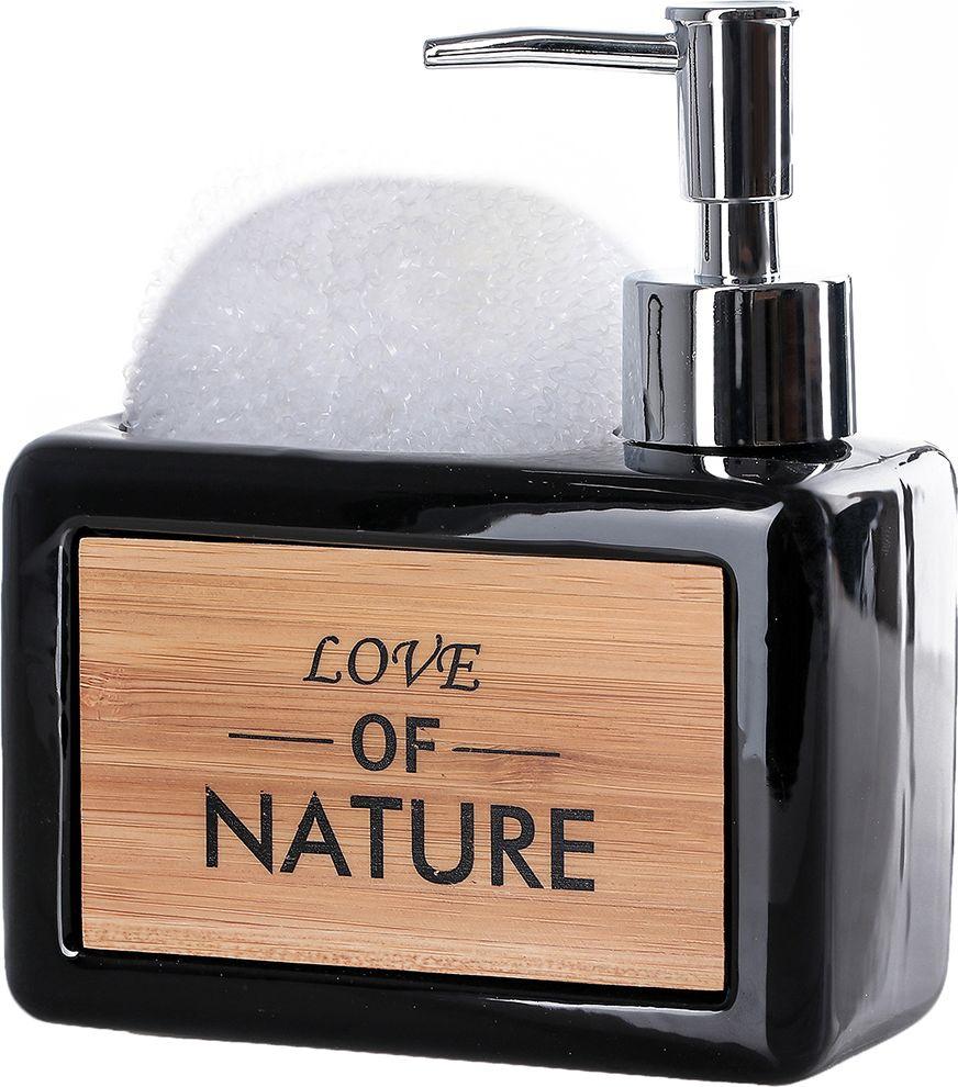 """Дозатор для жидкого мыла Доляна """"Природа"""", с подставкой для губки, 4004522, черный"""